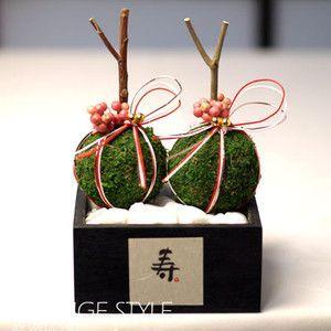 小さな苔玉リングピロー(苔玉、枝、水引使用)