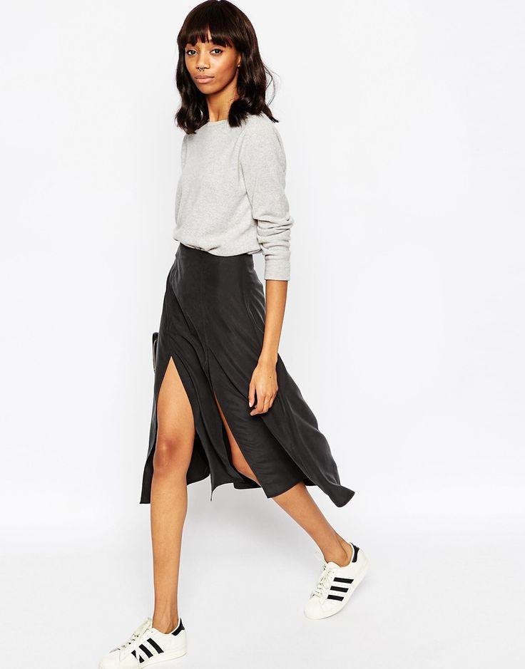 ASOS Soft Wrap Midi Skirt with Splices