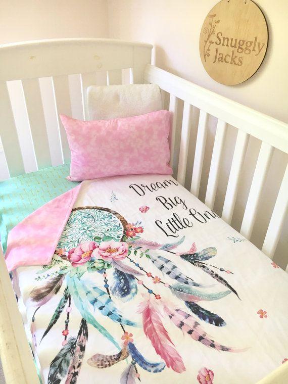 Baby Cot / Crib Quilt Blanket Dreamcatcher Baby Girl Nursery Bedding Crib Comforter Pink Aqua Nursery