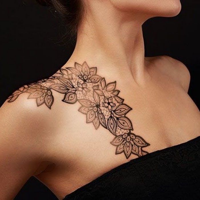 Chest Tattoo Designs Black Top Symmetrical Flowers Shoulder Black Background In 2020 Chest Tattoos For Women Tattoos For Women Chest Tattoo