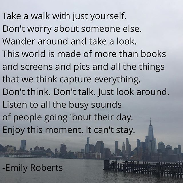 I am trying something new today. I took pictures on my walk while trying to brainstorm a poem and decided to make one of the photos the background. Let me know what you think. #bemindful #bepresent #takeawalk #icanttakepicturestosavemylife For more poetry and other works please see link in my bio. #emilyroberts_poetry
