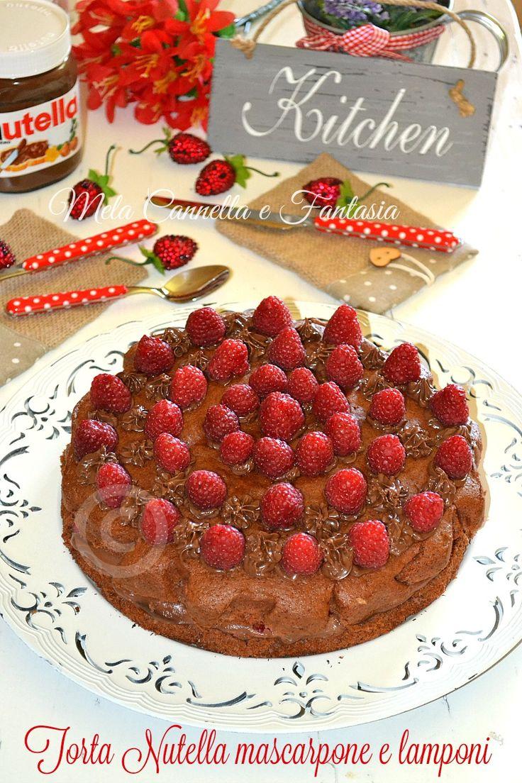 Torta Nutella mascarpone e lamponi