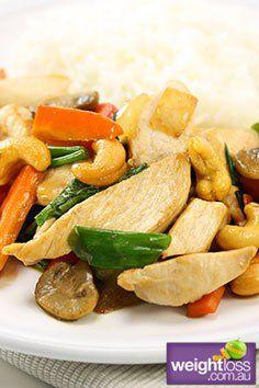 Thai Chicken Cashew Stir Fry. #HealthyRecipes #StirFryRecipes #WeightLoss #WeightlossRecipes weightloss.com.au