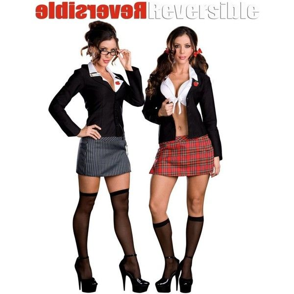 Reversible Teacher & School Girl Costume ($58) ❤ liked on Polyvore featuring costumes, halloween costumes, multicolor, adult school girl costumes, sexy schoolgirl halloween costume, sexy halloween costumes, colorful costumes and white costume