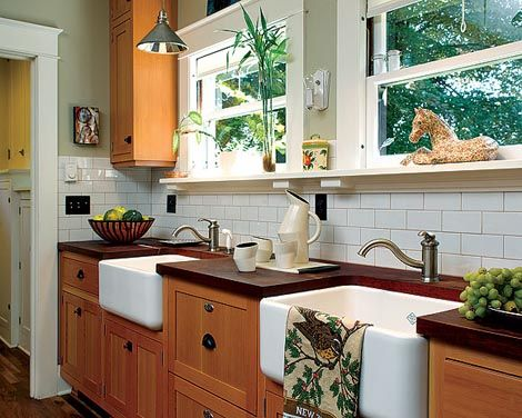 pretty double sinks in the kitchen