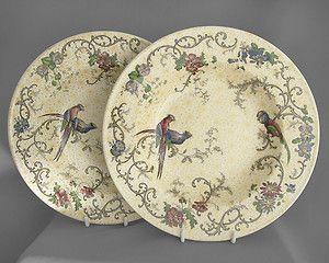 Cauldon, PAIR of antique decorative dishes, birds, c1890s FREE post UK