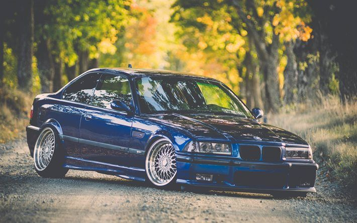 BMW M3, tuning, E36, stance, blue m3, BMW