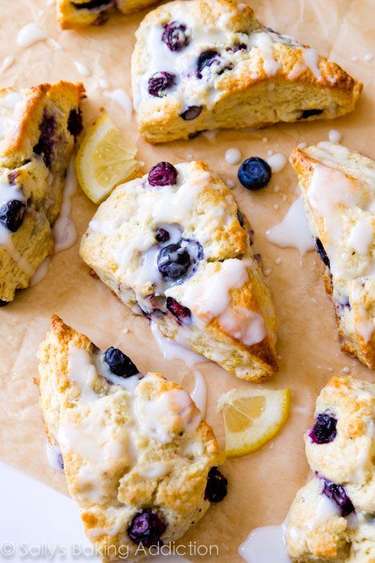 My go-to scone recipe! Glazed Lemon Blueberry Scones