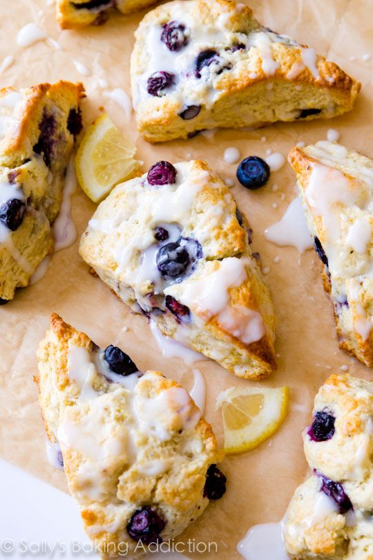 My go-to scone recipe filled with blueberries and topped with sweet and tangy lemon glaze.  Welcome back to Sally's overdose on scones. It's only been about a year and half since my love affair began.