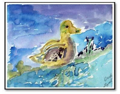 """Painting program for people with Alzheimers. """"The Lonesome Duck  I hunted up north   with my sons. There was   a lot of ducks up there."""" Loyal Brown"""