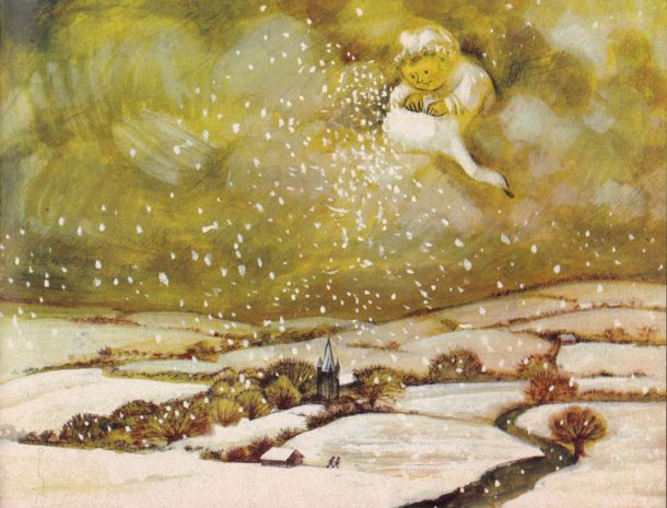 'To the Snow' from Fee Fi Fo Fum' by Raymond Briggs, 1964.