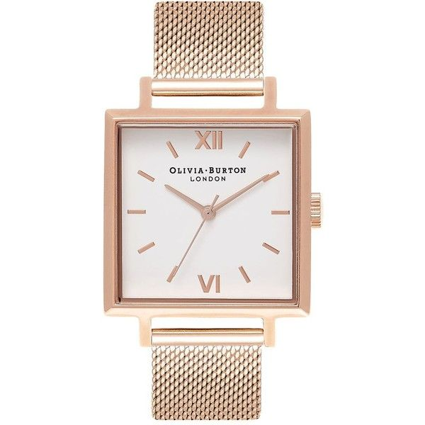 Big Square Dial Watch by Olivia Burton (€125) ❤ liked on Polyvore featuring jewelry, watches, rose gold, dial watches, olivia burton, square dial watches, square face watches and olivia burton watches