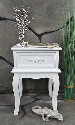 Nachttisch Nachtschrank Nachtkonsole Nachtschränckchen Nachtkommode barock Weiß