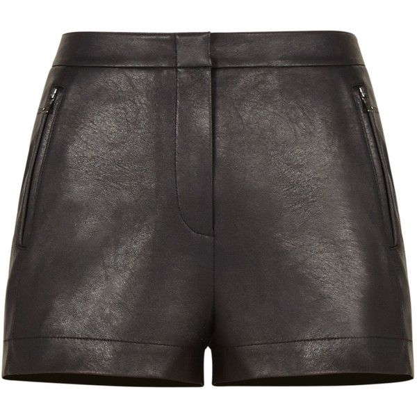 BCBGMAXAZRIA Yazzy Faux-Leather Shorts ($158) ❤ liked on Polyvore featuring shorts, bottoms, high rise shorts, faux leather shorts, stretchy high waisted shorts, highwaist shorts and zipper pocket shorts