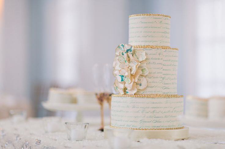 Their Wedding Cake - Very Elegant and romantic! White with Gold trimming and blue writing http://www.fusion-events.ca/