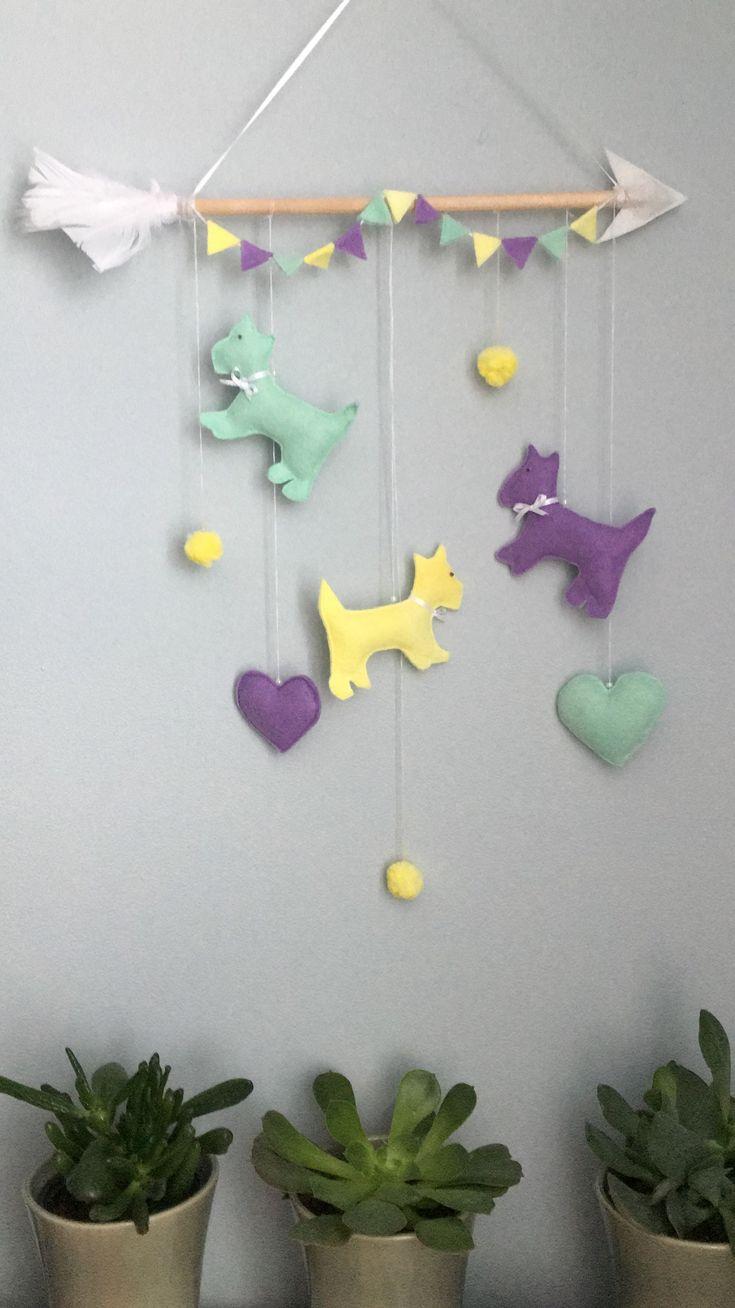 Puppy wall decoration! #handmade#felt#feltcraft#homedecor#babydecor#kidsroom#puppydecor#walldecor#mobiledecor