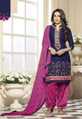 1cdc4476a2 Navy Blue And Pink Cotton Embroidered Patiala Suit #collarneck #Style #sale  #dress #Salwar #Kameez #nikvik #usa #designer #australia #canada #suits  #collar