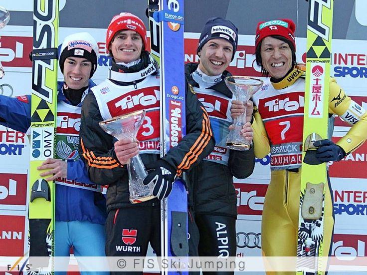 4 guys on the podium in Innsbruck today: Richard Freitag won, Stefan Kraft was second, Simon Ammann and Noriaki Kasai shared the third place!