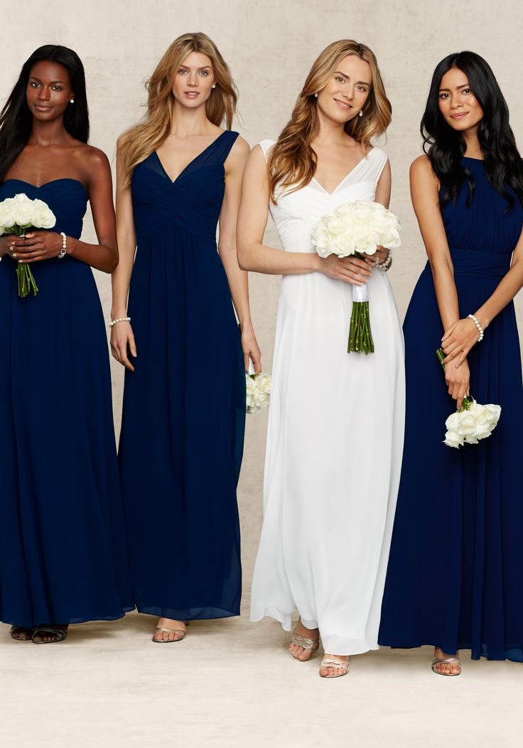 Figure-flattering navy bridesmaids dresses from the Lauren Ralph Lauren  Wedding Collection, with ruched