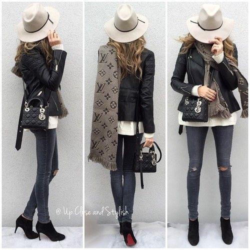 Louis Vuitton scarf, leather jacket, skinny jeans, black booties and Lady Dior handbag for fall outfit inspiration. #louisvuitton