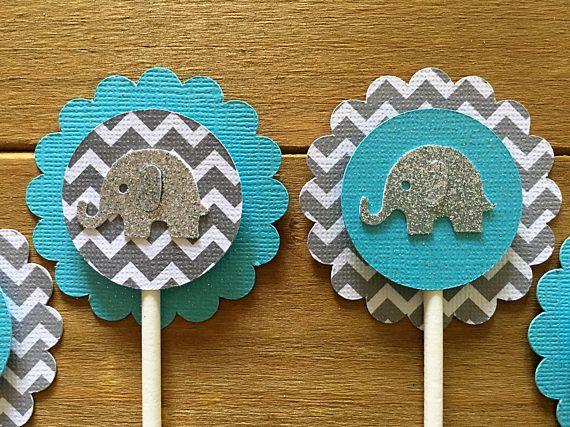 12 blue Elephant Cupcake Toppers elefante Baby Shower torta