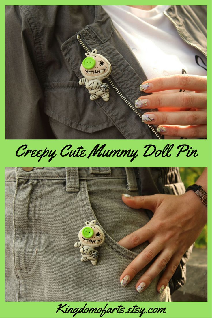 If you love something unusual, Mummy-doll pin will be a great addition to your image. It fits perfectly with any clothes, bags, scarfs, hats, and jeans. Creepy cute brooch is made of polymer clay, pin used as the clasp.~ Creepy cute Funny halloween gift Baby mummy Voodoo doll Creepy cute jewelry Funny brooch pin Cute halloween pin Strange jewelry Baby vampire Creepy cute vampire Freaking cute Occult cute pin Toothy brooch Funny mummy Polymer clay jewelry Halloween gift idea