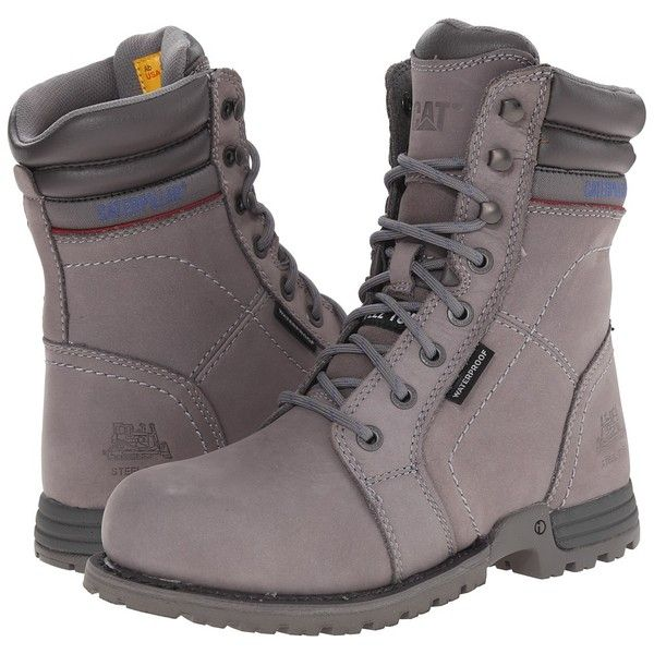 Caterpillar Echo Waterproof Steel Toe (Frost Grey) Women's Work Boots ($150) ❤ liked on Polyvore featuring shoes, safety toe shoes, oil resistant shoes, lightweight shoes, lace up shoes and grey shoes