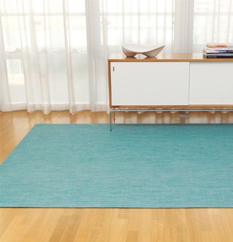 CHILEWICH COLOR COLLECTION | COLORFUL COMBINATIONS | WOVEN FLOOR MAT IN  TURQUOISE MINI BASKETWEAVE