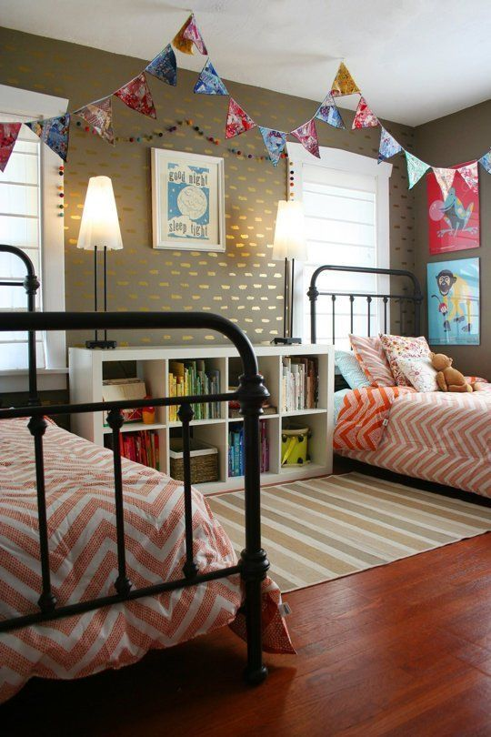 shelf side tables! Shared Kids Space Inspiration -- pennants from the ceiling! too cute