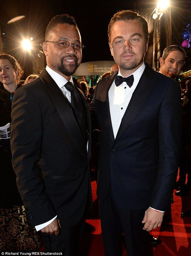 Fancy seeing you here: He caught up with fellow actor Cuba Gooding Junior on the red carpet