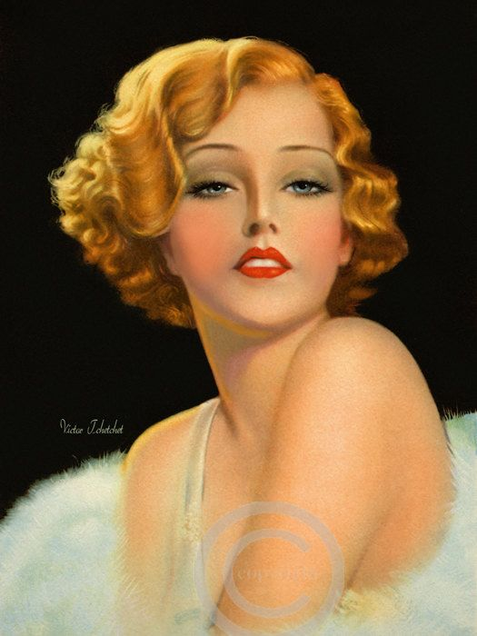 Gorgeous Art Deco Flapper Pin Up Girl Red By