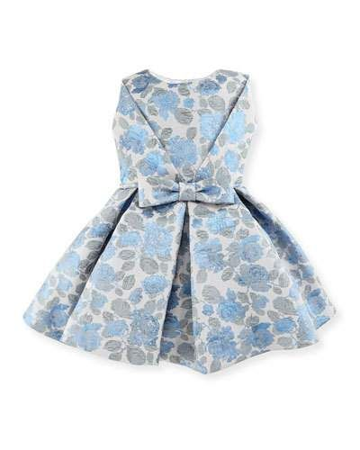 Pleated Floral Jacquard Dress, Blue/Silver, Size 2-6
