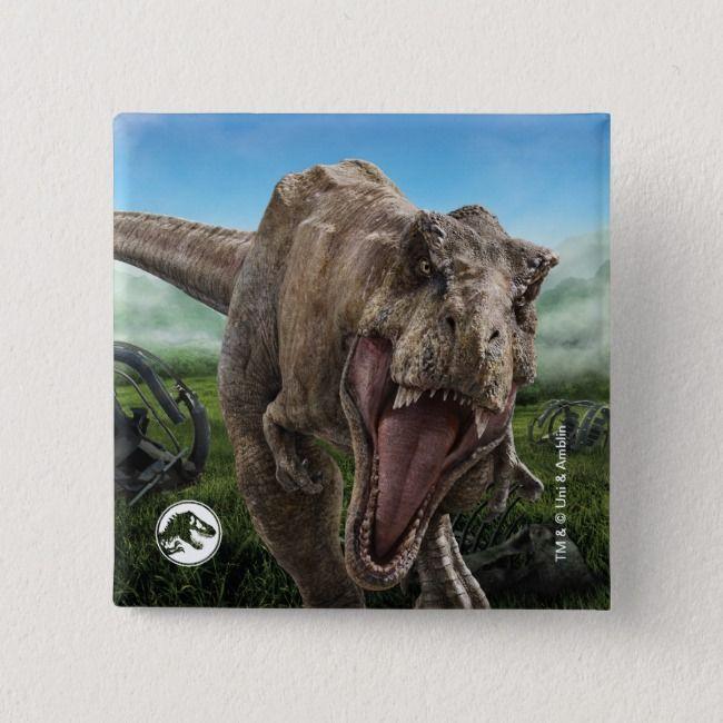Jurassic World T Rex Instinct To Hunt Button Zazzle Com