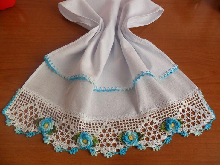 Pano de Prato Roseta Azul | Ludrika Artesanato | Elo7