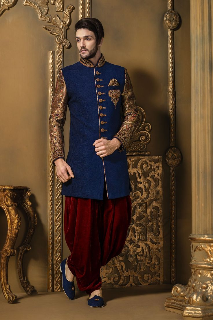 Ink #blue multicoloured jute & brocade bewitching #sherwani with #maroon #velvet bottom-IW311