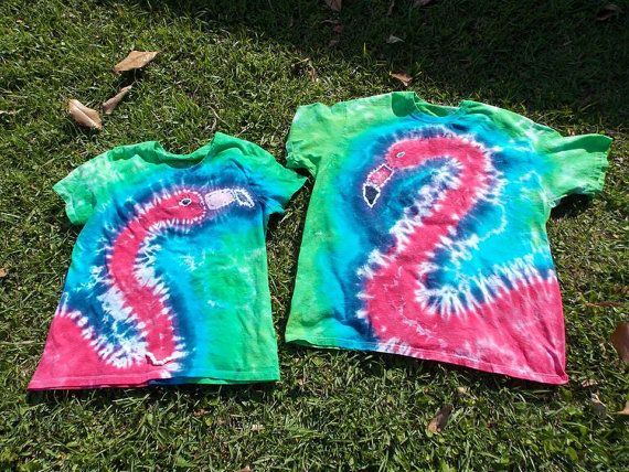 Custom Adult Tie Dyed Pink Flamingo Tee Shirt by JoyfulTieDyes