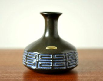 Frank Keramik Denmark - Danish Ceramic Vase - Black And Blue