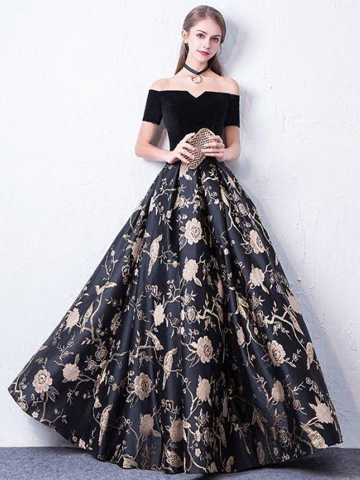 51684c309e Chic Print Prom Dresses Long A-line Off-the-shoulder Floral Prom Dress  Evening Dress AMY118