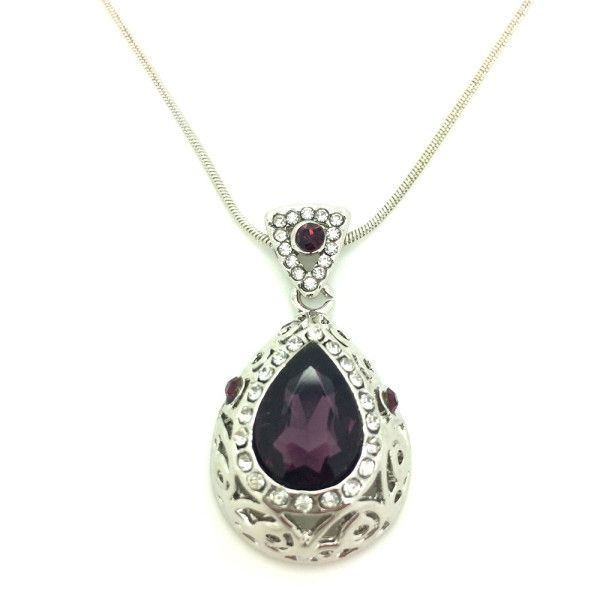 Platinum Plated Purple Crystal CZ Diamond Pendant Necklace @ Trendymela.com