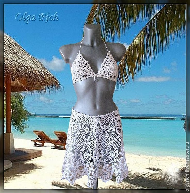 """Buy """"Love magic"""" beach skirt - white, beach skirt, beachwear, skirt crochet"""