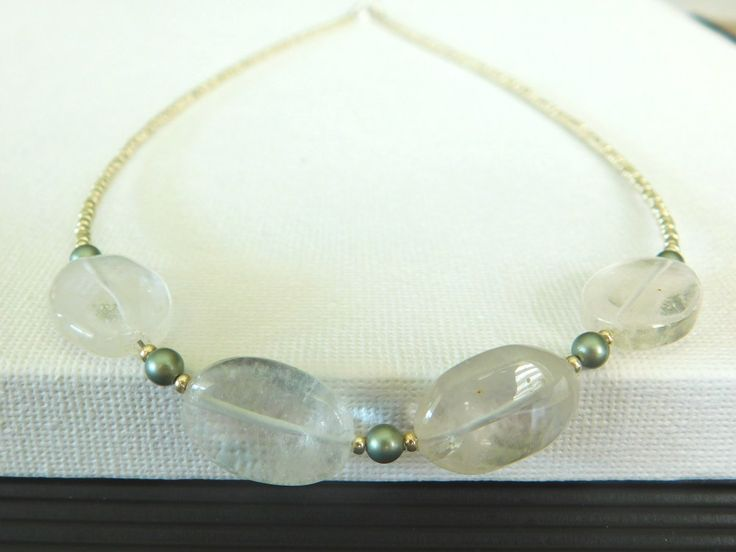 Crystal Quartz Beaded Necklace,  Delicate Gemstone Beaded Necklace, Seed Bead Necklace by jljewellerydesign on Etsy