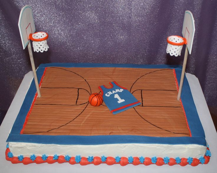Basketball Court Cake - All edible except wooden dowels used for hoop posts.  Took a little bit to decide how to handle the nets.  I finally just rolled out some fondant, poked holes in it with a #2 tip and used royal icing to attach it to the inside of the hoop.  Worked fine!
