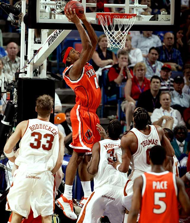 Carmelo Anthony slams home a dunk during the 2003 Final Four against Texas. Anthony would lead the Orange to the national championship. Can Syracuse win it all this year? (John W. McDonough/SI) GALLERY: Final Fours With Just One No. 1 Seed