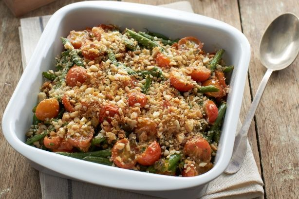 Green bean gratin with cherry tomato confit and macadamia nuts