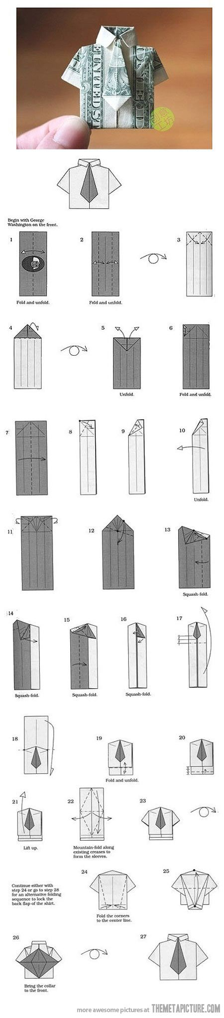 This money-folding instruction sheet teaches you how to fold a dollar bill into a dress shirt with tie. Now that's cool.