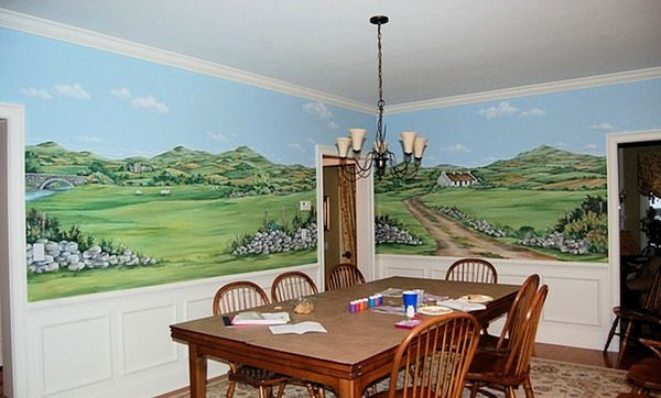 Hand Painted Mural of Ireland traditional dining room wall decor
