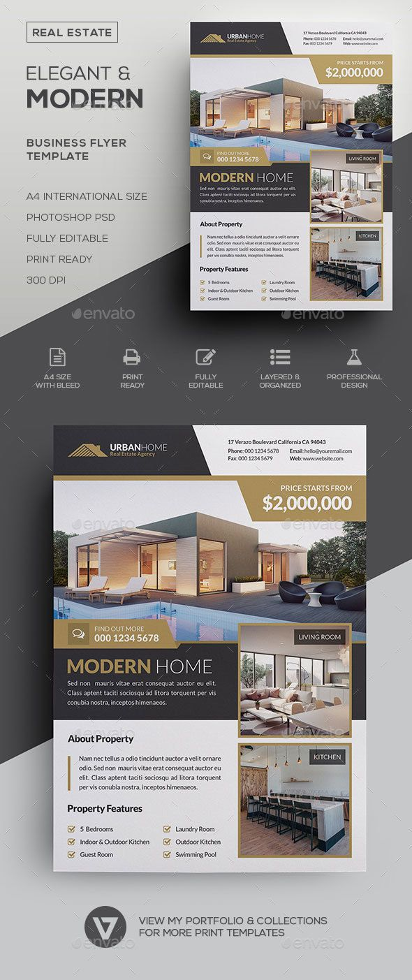 Real Estate Flyer An elegant and highly versatile real estate flyer suitable for all property related businesses. Create stunning flyers on the fly and streamline your workflow with this easy to edit template. Use it to create traditional print advertising such as magazine advert, newspaper ads placement, promotional posters and all other ways you can think of. Template Features      Fully editable Template     Photoshop PSD