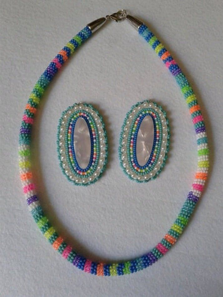 Beaded rope necklace eith matching bracelet