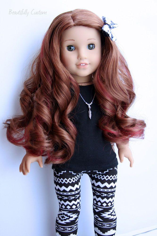 Custom American Girl Doll {Hazel Green Eyes + Saige Wig + Custom Red Highlights} #Dolls