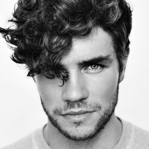 Curly Angular Fringe - Cute and Hot Hairstyles For Men, Best Haircuts For Guys with Curly Hair #men'shairstyle